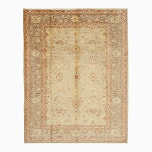 Beige Traditional Handwoven Antique Oushak Carpet