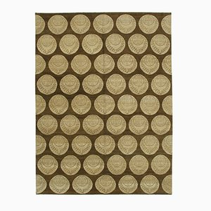 Brown Anatolian Hand Knotted Wool Oushak Carpet