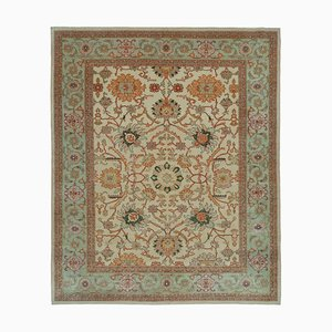 Beige Decorative Handmade Wool Oushak Carpet