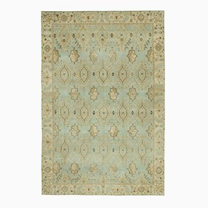 Blue Turkish Hand Knotted Wool Oushak Carpet