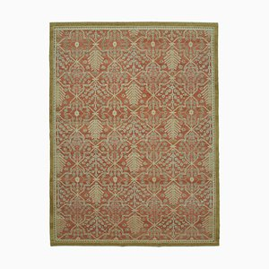 Red Traditional Handwoven Antique Oushak Carpet