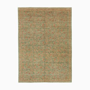 Green Oriental Handwoven Antique Oushak Carpet