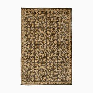 Brown Traditional Handwoven Antique Oushak Carpet