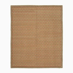 Beige Turkish Hand Knotted Wool Oushak Carpet