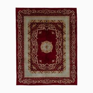 Red Anatolian Hand Knotted Wool Oushak Carpet