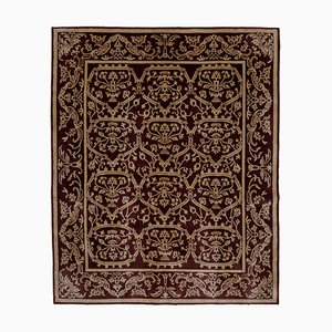 Red Turkish Handwoven Antique Oushak Carpet