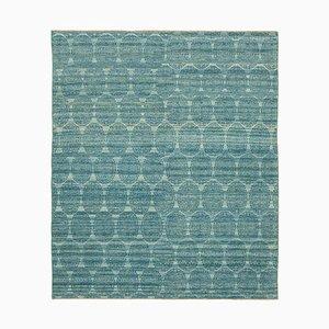Blue Traditional Handmade Wool Oushak Carpet