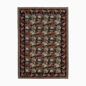 Black Decorative Handmade Wool Oushak Carpet