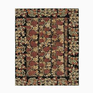 Schwarzer Dekorativer Handgeknüpfter Ouschak Teppich aus Wolle