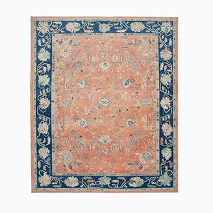 Red Oriental Hand Knotted Wool Oushak Carpet