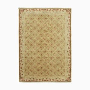 Yellow Antique Hand Knotted Wool Oushak Carpet