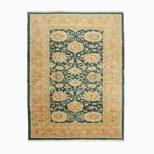 Beige Antique Handmade Wool Oushak Carpet