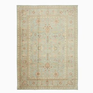 Blue Anatolian Hand Knotted Wool Oushak Carpet
