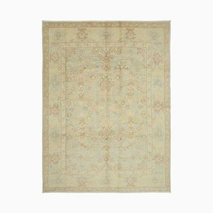 Blue Oriental Hand Knotted Wool Oushak Carpet