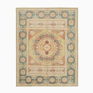 Beige Decorative Handwoven Antique Oushak Carpet