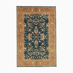 Blauer Anatolischer Handgeknüpfter Oushak Teppich aus Wolle