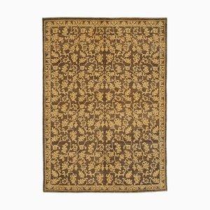 Brown Oriental Handwoven Antique Oushak Carpet
