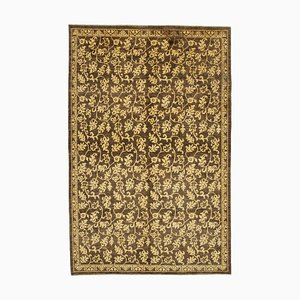 Brown Decorative Handmade Wool Oushak Carpet