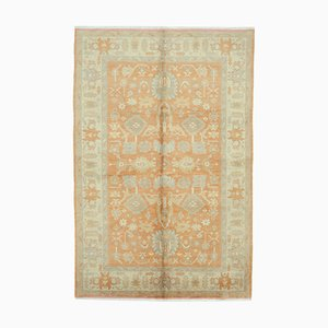 Beige Decorative Hand Knotted Wool Oushak Carpet