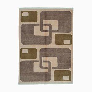 Beige Anatolian Handmade Wool Oushak Carpet