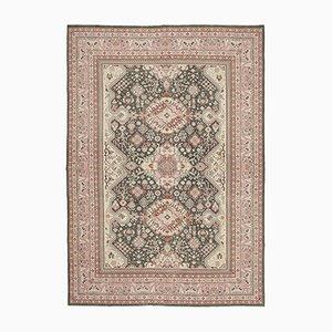 Beige Oriental Hand Knotted Wool Oushak Carpet