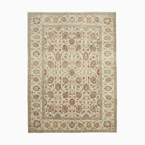 Beige Antique Hand Knotted Wool Oushak Carpet