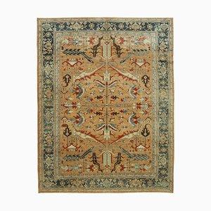 Beige Turkish Handwoven Antique Oushak Carpet