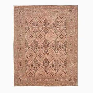 Handgeknüpfter rosafarbener Oushak Teppich aus Wolle