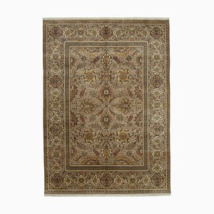 Brown Antique Hand Knotted Wool Oushak Carpet