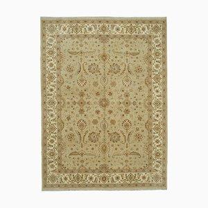 Beige Turkish Handmade Wool Oushak Carpet