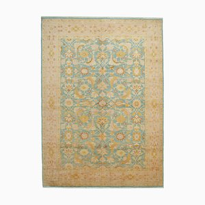 Beige Turkish Hand Knotted Wool Large Oushak Carpet