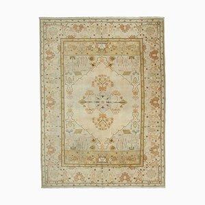 Beige Turkish Handwoven Antique Large Oushak Carpet