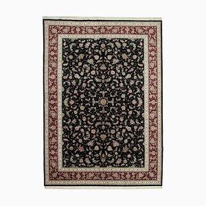 Black Decorative Hand Knotted Wool Large Oushak Carpet