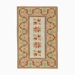 Beige Turkish Handmade Wool Small Oushak Carpet