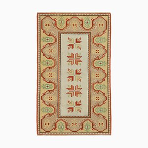 Beige Anatolian Handmade Wool Small Oushak Carpet