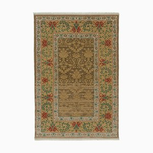 Brown Turkish Hand Knotted Wool Small Oushak Carpet