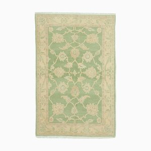 Green Traditional Handwoven Antique Small Oushak Carpet