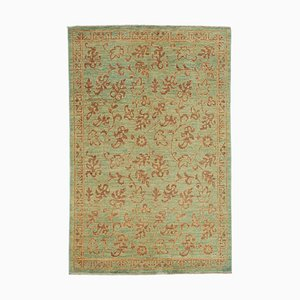 Green Antique Hand Knotted Wool Small Oushak Carpet