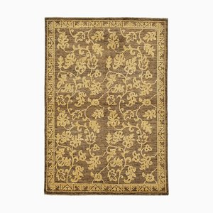 Brown Anatolian Hand Knotted Wool Small Oushak Carpet