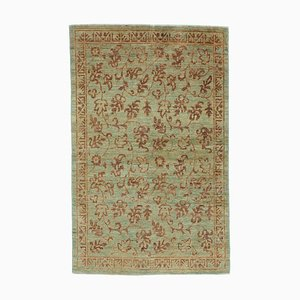 Green Oriental Handwoven Antique Small Oushak Carpet