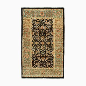 Beige Traditional Hand Knotted Wool Small Oushak Carpet