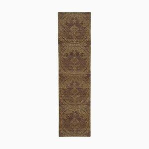 Brown Traditional Handmade Wool Runner Oushak Carpet