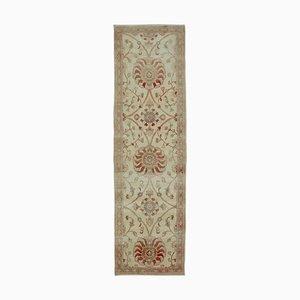 Beige Turkish Handwoven Antique Runner Oushak Carpet
