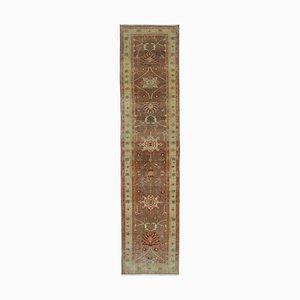 Brown Decorative Handwoven Antique Runner Oushak Carpet