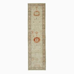 Beige Traditional Hand Knotted Wool Runner Oushak Carpet