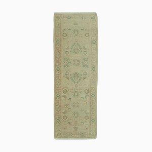 Beige Antique Hand Knotted Wool Runner Oushak Carpet