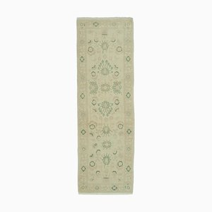 Beige Decorative Hand Knotted Wool Runner Oushak Carpet