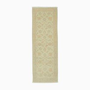 Beige Decorative Handwoven Antique Runner Oushak Carpet