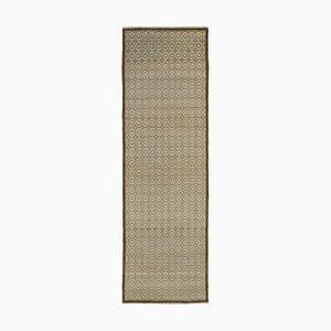 Beige Traditional Handmade Wool Runner Oushak Carpet