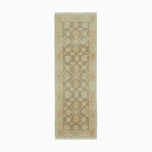 Beige Turkish Handmade Wool Runner Oushak Carpet